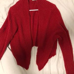 Oversized red knit cardigan so comfy and cute!!